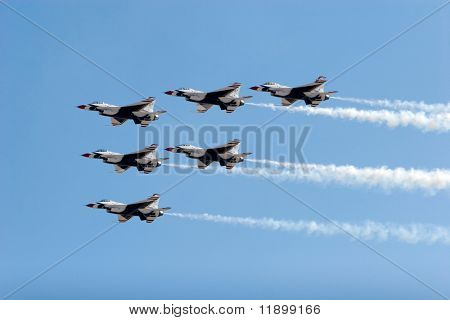 F-16 Thunderbird jets flying in formation poster