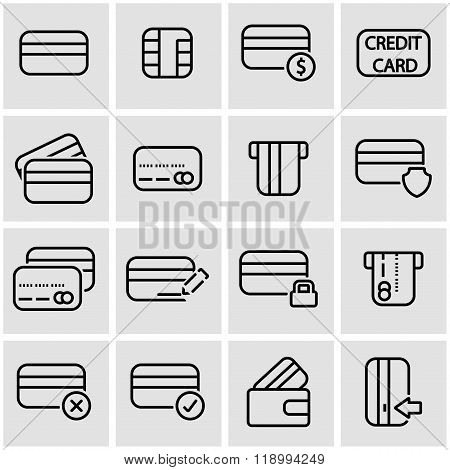 Vector line credit card icon set