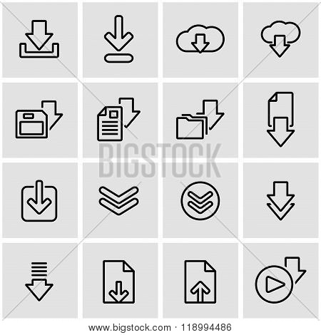 Vector line download icon set