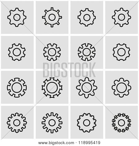 Vector line gear icon set