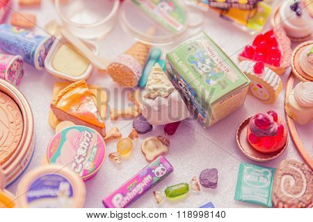 Bangkok,thailand - October 29, 2015:variety Of Miniature Clay Sweet And Candy Collection Vintage.re-