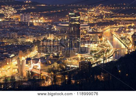 BILBAO, SPAIN, JANUARY 30, 2016: View of the illuminated city of Bilbao.