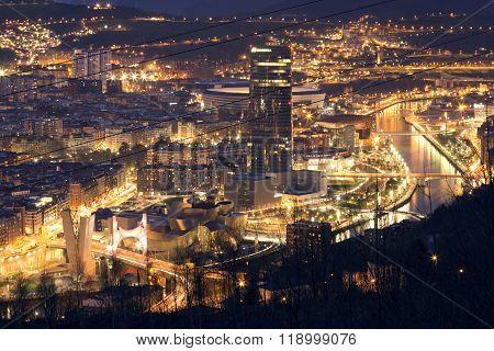 BILBAO, SPAIN, JANUARY 30, 2016: View of the illuminated city of Bilbao.