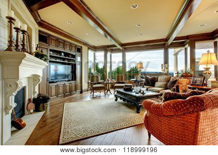 Large Luxury Living Room With Big Windows.