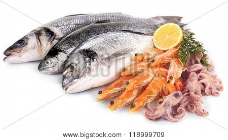 Fresh Mediterranean cocktail of fish on white background, close up