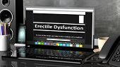Laptop with Erectile Dysfunction information on screen, on desktop with office objects. poster