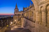 North Gate of Fisherman's Bastion in Budapest Hungary Illuminated at Dawn poster