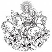 Helios personification of the sun driving a chariot drawn by four horses harnessed abreast . God in ancient Greek mythology poster