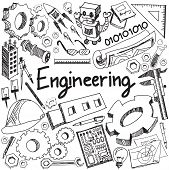 Mechanical electrical civil chemical and other engineering education profession handwriting doodle icon tool sign and symbol in white isolated background paper used for subject or presentation title with header text create by vector poster