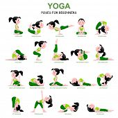 Cartoon girl in Yoga poses with titles for beginners isolated on white background. Yoga Poses Infographic Elements with captions. Vector illustration. poster