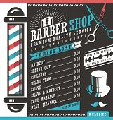 Barber Shop vector price list template. Haircut and shave retro barber sign on dark background. Gentlemen hair styles promotional banner graphic. Barber salon promotional ad or flyer layout. poster