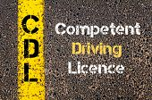 Concept image of Business Acronym CDL Competent Driving Licence written over road marking yellow paint line poster