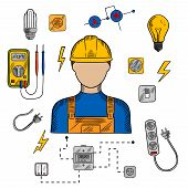 Electrician profession icons with electric man in yellow hard hat, electrical household supplies, electric tools and equipments symbols. For industrial design usage poster
