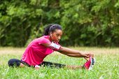 African american woman jogger stretching - Fitness people and healthy lifestyle poster