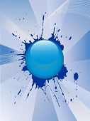 vector illustration of a blue glas button on an abstract background poster