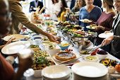 Food Buffet Catering Dining Eating Party Sharing Concept poster
