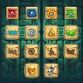 Jungle shamans GUI booster buttons set vector elements on creative background for computers game interface and web design poster