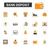 bank deposit icons, bank deposit logo, bank icons vector, bank flat illustration concept, bank infographics elements isolated on white background, bank  logo, bank symbols set, banking, money, deposit poster