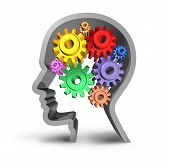 intelligence brain function gears cogs in motion neurology mental health medical symbol mind isolated poster
