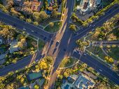 Aerial view of famous 6-way stop street intersection in Beverly Hills, Los Angeles, California. poster