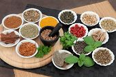 Herb and spice selection for men used in natural alternative herbal medicine.  poster