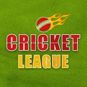 Stylish text Cricket League with fiery ball on grungy green background, can be used as poster, banner or flyer design. poster