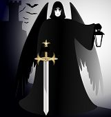 a dark gothic angel - black knight with a sword and a lantern in his hand poster