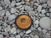 an old wheel washed up on the beach and right beside it a smooth round stone with an inprint not unlike the wheel. manmade and nature together. poster