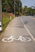Cycle Lane with Cyclist in Mae Fah Luang University, Chiang-Rai Thailand poster