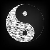 Ying yang symbol of harmony and balance with chalk effect poster