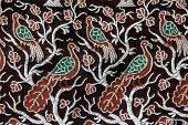 a peacock design in a fabric cloth poster