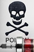 Skull and crossbones on a syringe with red medicine poster