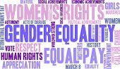 Gender Equality word cloud on a white background. poster