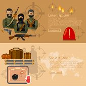 Terrorism banners global threat world terror group terrorists airport security vector illustration poster