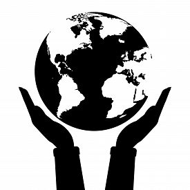 Two Hands Holding Globe Earth Black And White Color. Vector Illustration  Love And Save Earth Concep