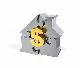 Steel Jigsaw Puzzle House With Golden Dollar Sign