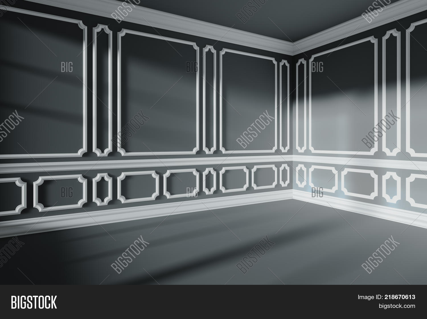 5a992c51f87a Black empty room wall with sunlight from window with white decorative  classic style molding frames on
