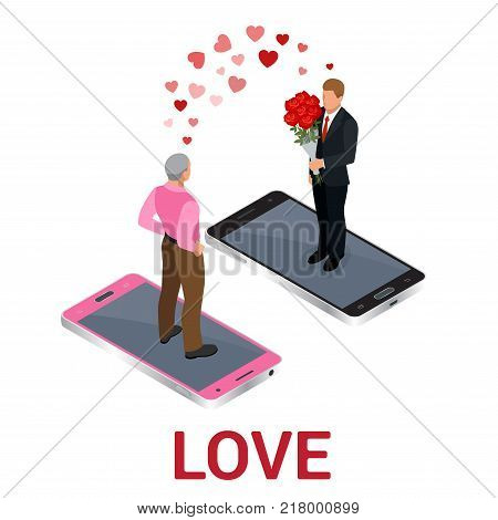 Isometric people LGBT Gay dating and Lesbian Couple Moments. Happiness Concept
