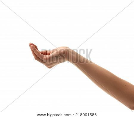 One woman hand asking for support money aim help  waiting for water isolated on the white background