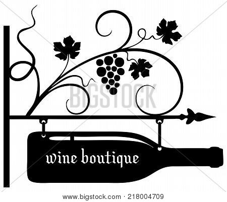 Pointer wine boutique with wine bottle and grapevine.