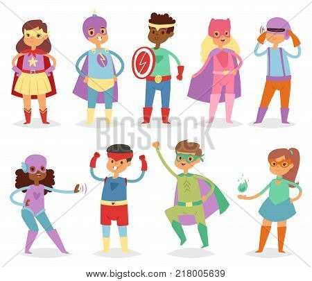 Superhero kids vector super hero child or kid in mask cartoon character of girl or boy in costume in childhood playing heroic game on carnival illustration isolated on white background.