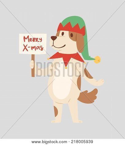 Christmas dog vector cute cartoon puppy character illustration pet doggy Xmas celebrate santa red hat pose illustration.