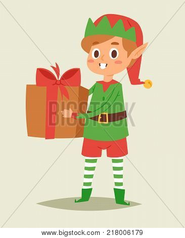 Christmas elfs kids vector children Santa Claus helpers cartoon elfish boy young characters traditional costume celebrated Christmas