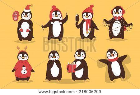Christmas penguin vector character cartoon cute bird celebrate Xmas playfull happy penguin face smile illustration in santa Red Hat.