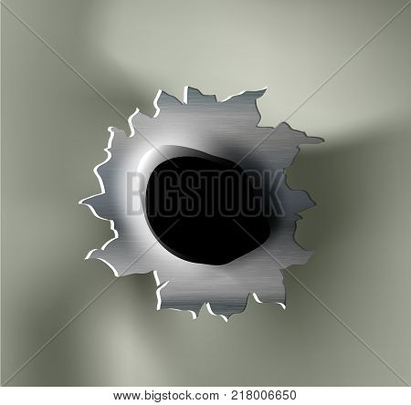 ragged bullet Hole torn in ripped metal on khaki background