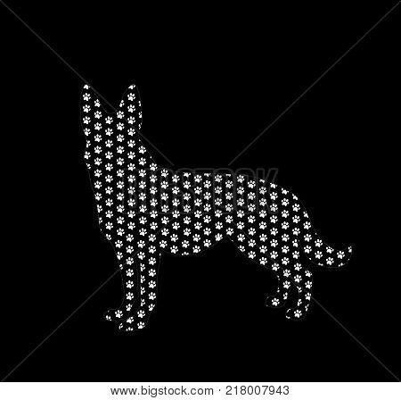 Silhouette of german shepherd filled with white dog paw prints pattern from inside isolated on black background. Vector illustration sign symbol clip art.
