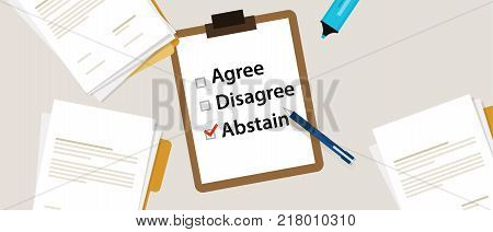 Abstain Selecting an item in the survey. Items for voting agree, disagree, abstain on paper with check mark vector