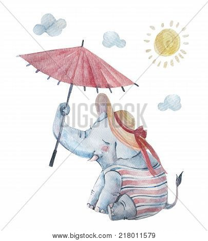 Cute baby elephant in swimsuite large brimmed sun hat under umbrella isolated on background. Cartoon hipster animal character. Watercolor nursery illustration. Hand drawn childish art
