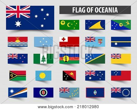 Set of official flags of Oceania . Floating flag design .