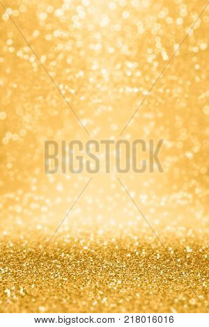 Elegant gold glitter sparkle confetti background for golden happy birthday party invite, 50 wedding anniversary gala, glitz and glam, dance banner, Christmas coupon or New Year's Eve champagne texture